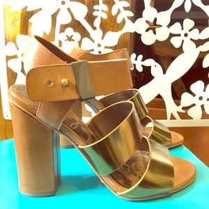 Sam Edelman Chunky-Heels in Tan + Rose Gold